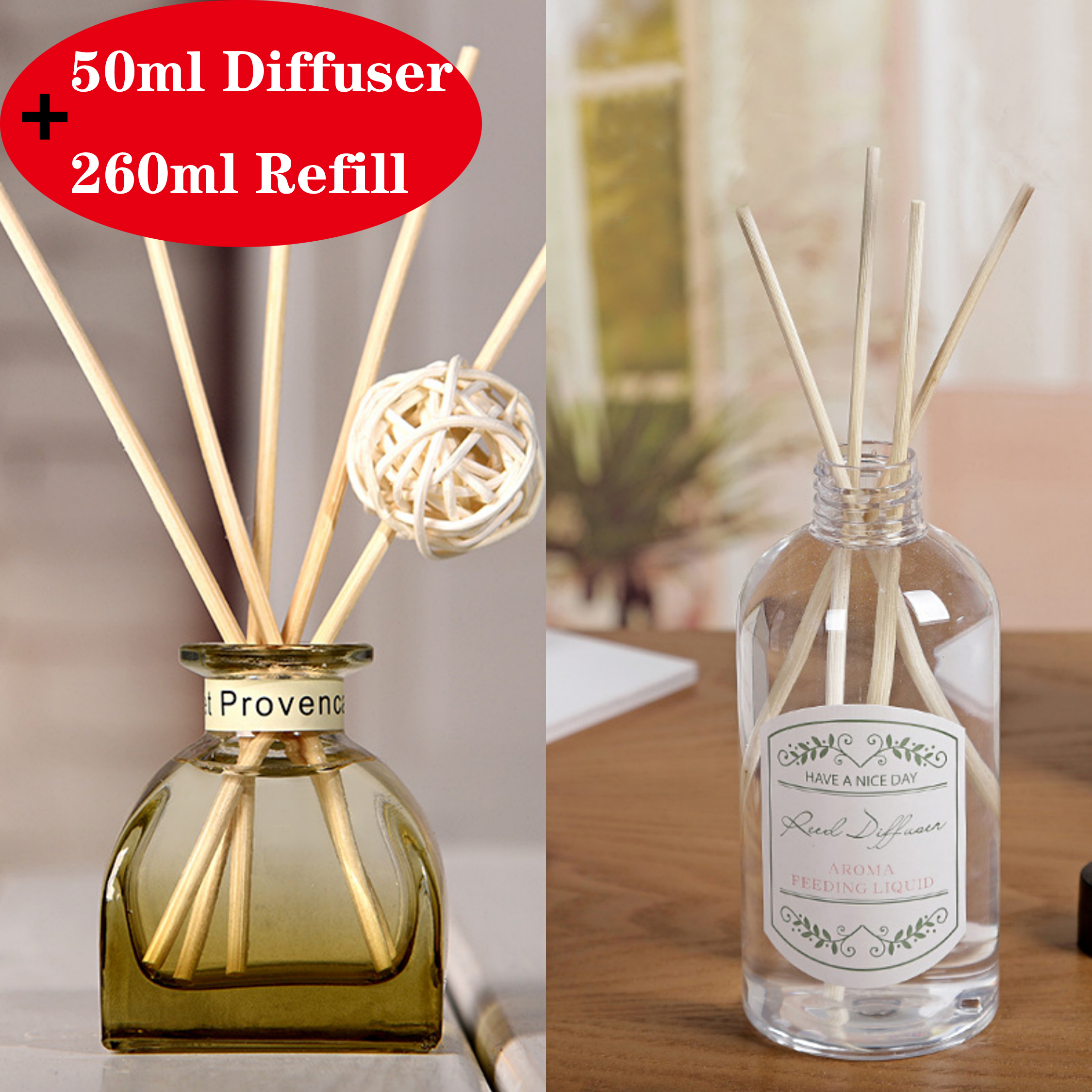 50ml+260ml Reed Diffuser Replacement Fireless Aroma Home Fragrance With Natural Rattan Sticks For Living Room Office,etc.