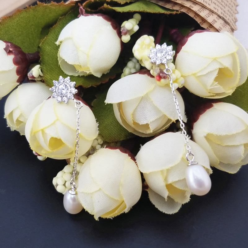 Natural Pearl silver 925 earrings Trendy Cubic Zircon Snowflake Pearl Ball for 2019 wedding party women in Earrings from Jewelry Accessories