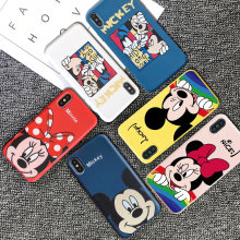 Luxe Merk Leuke Cartoon 3D Mickey Minnie Koppels Telefoon Case Voor Iphone 7 7Plus 8 8Plus X Xr xs 11 Pro Max Nieuwe Soft Cover(China)