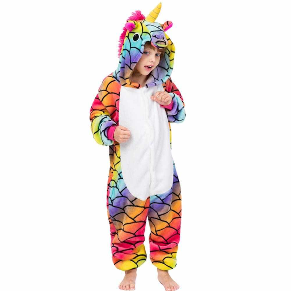 Unicórnio panda tigre porco totoro zebra animal onesies crianças bonito dos desenhos animados pijamas meninas meninos flanela sleepwear macacão de bebê