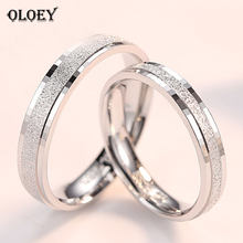 OLOEY 1 PC 100% Pure 925 Sterling Silver Rings for Men Women Frosted Flakes Lovers Couple Ring Wedding Party Jewelry Gift YMR940(China)