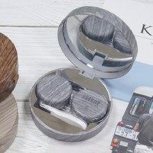 Imitatie Houtnerf Ronde Contact Lens Geval Met Spiegel Opbergdoos Lens Container Gift Leuke Eye Contacten Case