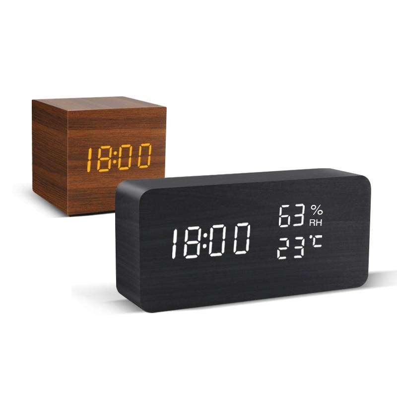 Alarm Clock LED Wooden Watch Table Voice Control Digital Wood Despertador USB/AAA Powered Electronic Desktop Clocks