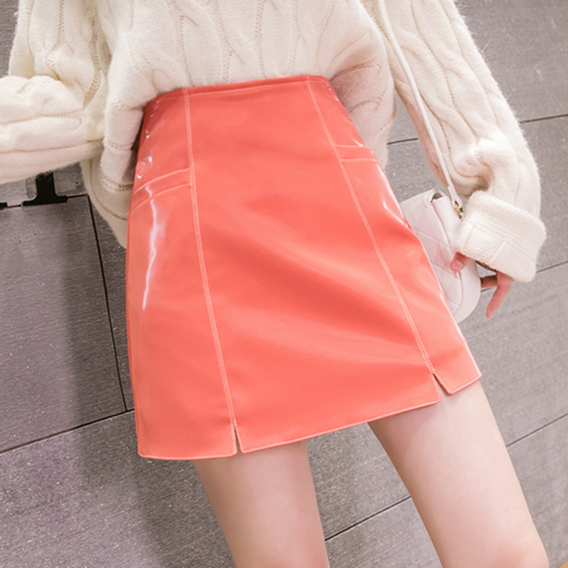 High Quality 2019 Autumn Winter Leather Skirt Women High Waist Split Bright Basic Pu Leather Skirt Black Pink Fashion Mini Skirt