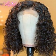 Perruque Lace Closure Wig brésilienne ondulée-Abijale, cheveux naturels Remy bouclés, 4x4, pre-plucked, densité 150%