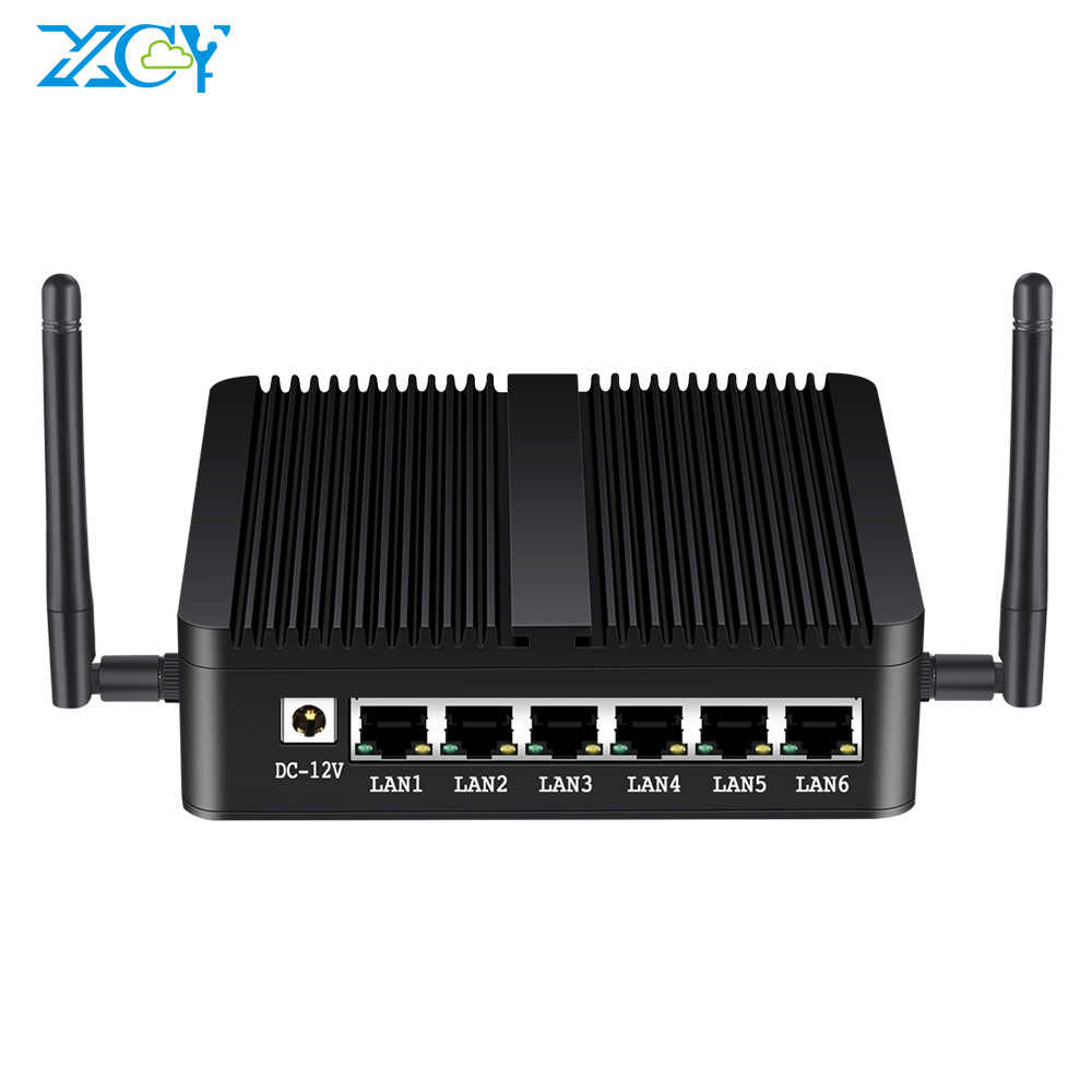 XCY Intel Celeron J1900 Mini PC 6 LAN Intel i211AT Gigabit Ethernet USB HDMI RJ45 consola Firewall de Pfsense Linux