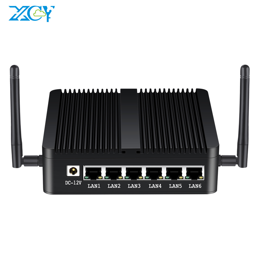 XCY Intel Celeron J1900 Mini PC 6 LAN Intel I211AT Gigabit Ethernet USB HDMI RJ45 Console Firewall Appliance Pfsense Linux
