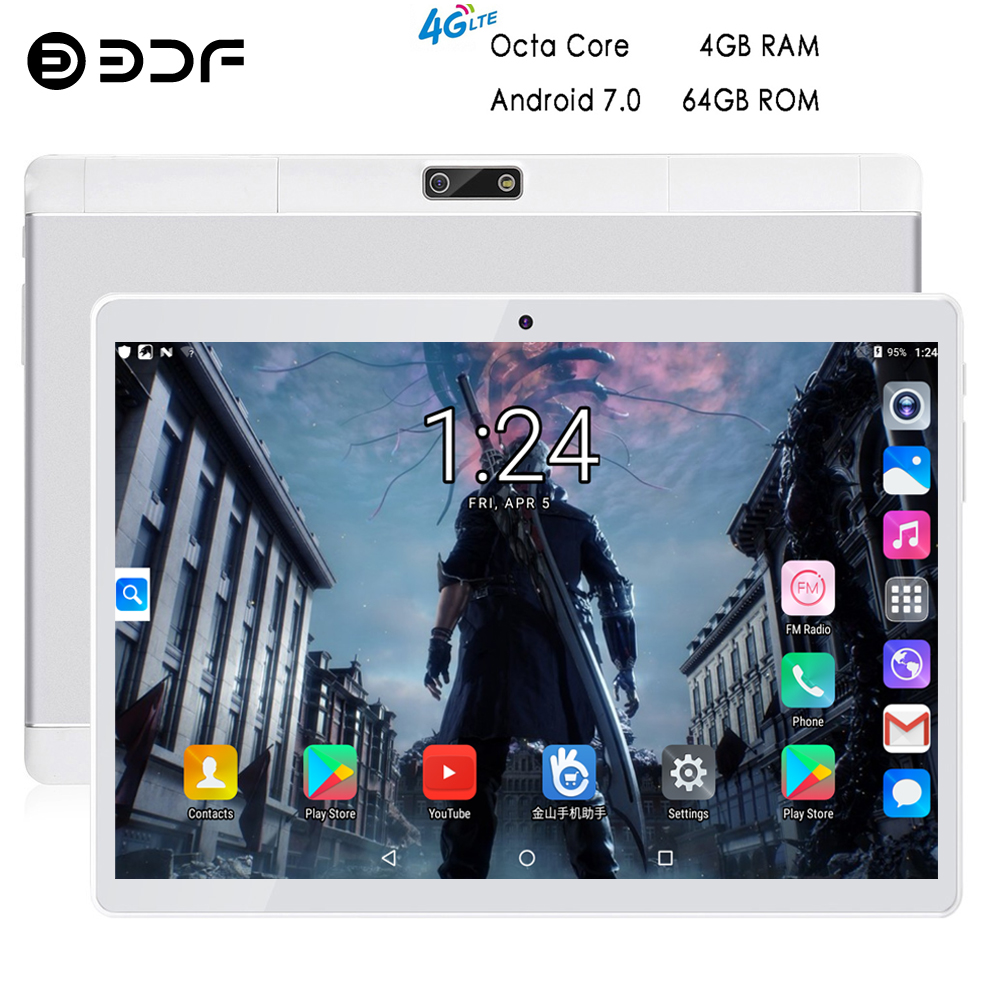 BDF 10 Inch Tablet Octa Core 1280*800 IPS Android 7.0 Tablets Pc Bluetooth Dual SIM Card 4G Phone Tablet 4GB/64GB Pc Tablet 10.1