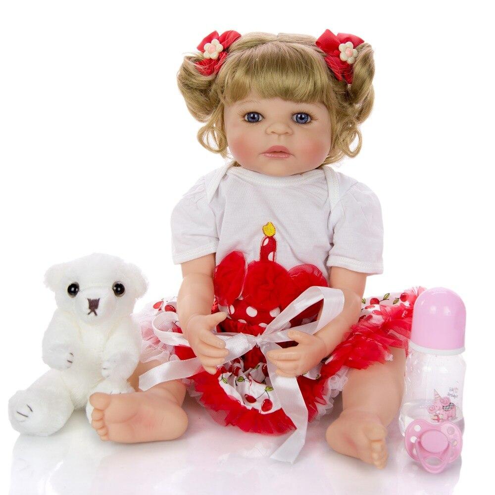 Silicone complet 22 pouces 55cm Reborn bébé poupées réaliste Bebes reborn realista Menina enfant Boneca jouet lol Grils cadeau mignon enfant en bas âge
