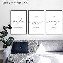 Affiche en toile avec Phrase italienne Simple, noir et blanc, amour, amitié, famille, image imprimée, décor artistique mural pour décoration de maison moderne