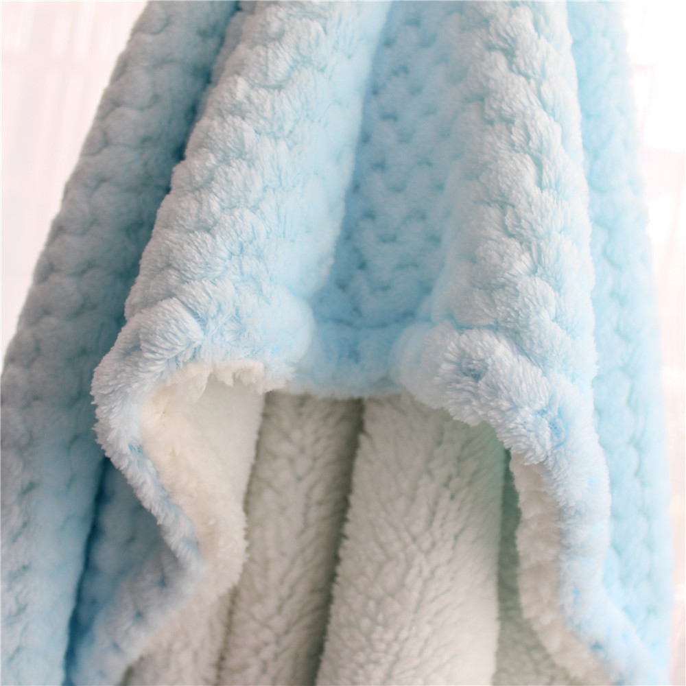 2 Layers Thick Winter Furry Sherpa Kids Blanket 3D Plaid Fluffy Baby Blanket Pet Carpet Blanket Kids Quilt Thermal Baby Swaddle