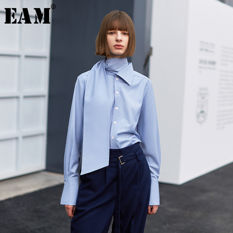 [EAM] Women Blue Temperament Bandage Blouse New High Collar Long Sleeve Loose Fit Shirt Fashion Tide Spring Autumn 2019 1H077