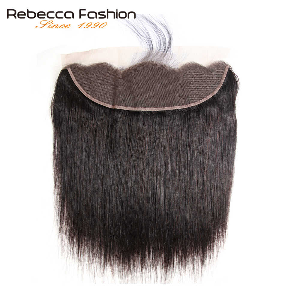Rebecca Brazilian Remy Straight Hair Lace Frontal 13x4 Human Hair Closure Ear to Ear Lace Closure 8 to 20 inch Natural Black