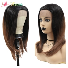 Synthetic Wigs Lace-Front X-TRESS Fiber-Hair Free-Part Heat-Resistant Brown Natural-Hairline
