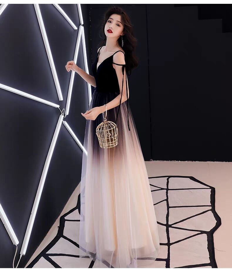 Evening Gown Women's Long 2019 Winter New Style Annual General Meeting Host Debutante Banquet Dress Nobility Elegant Slimming