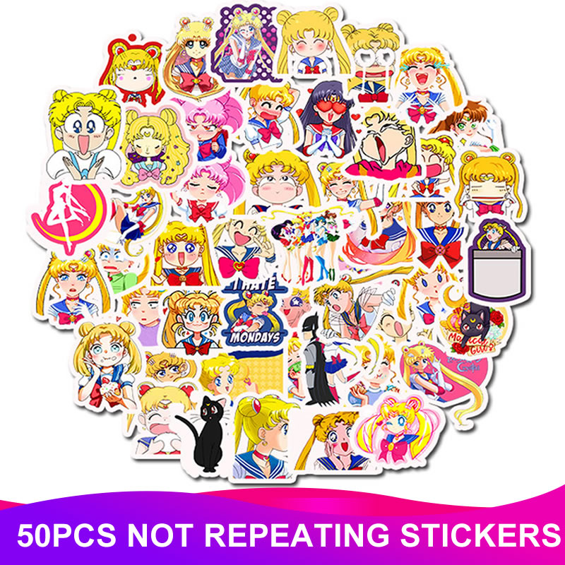 50pcs/Pack Waterproof PVC Sailor Moon Stickers Skateboard Suitcase Snowboard Fridge Phone Laptop Sticker Kids Reward Classic Toy