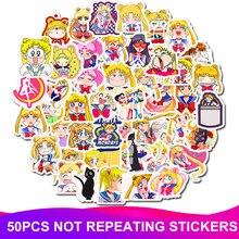 50pcs/Pack Waterproof PVC Sailor Moon Stickers Skateboard Suitcase Snowboard Fridge Phone Laptop Sticker Kids Reward Classic Toy