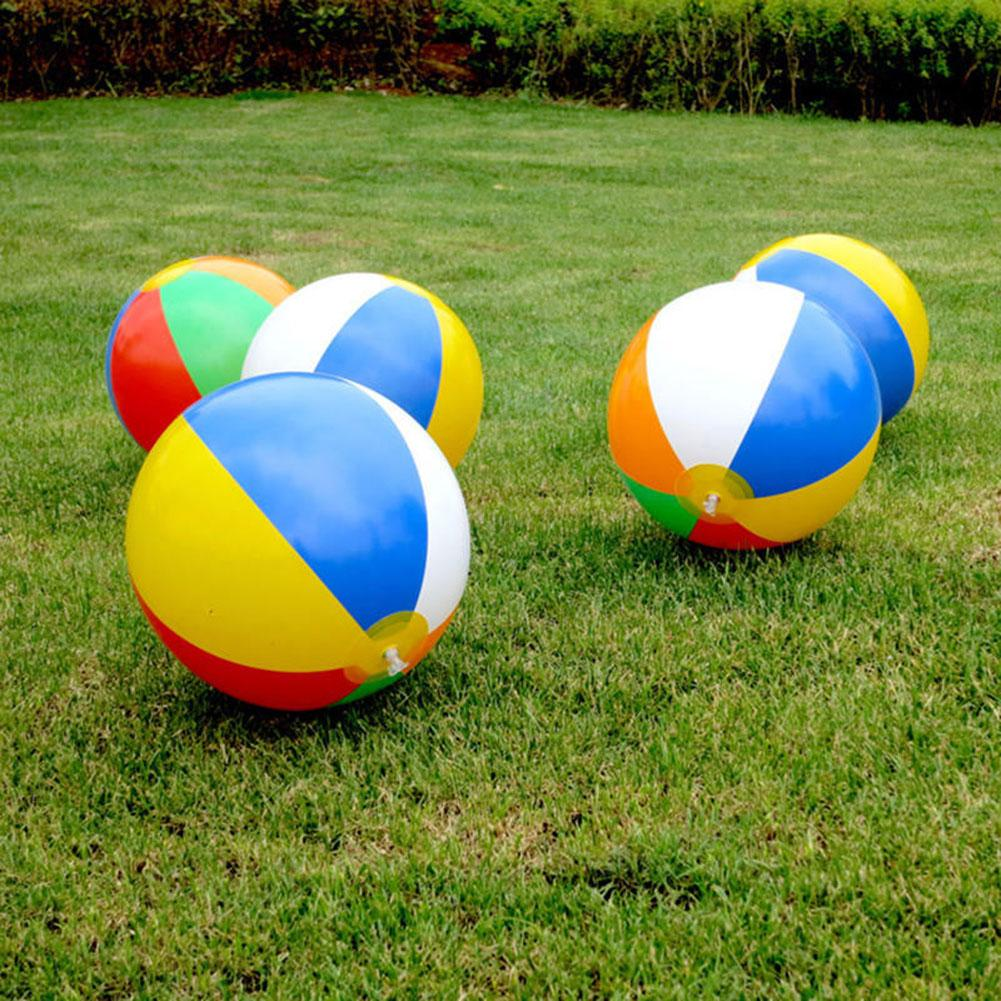 23cm Inflatable Beach Ball PVC Water Balloons Rainbow-Color Balls Summer Outdoor Beach Swimming Toys