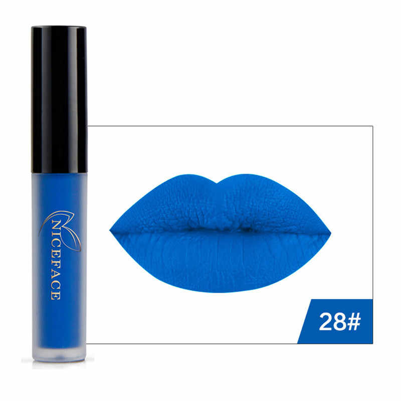 NICEFACE שפתון Maquiagem לאורך זמן סקסי מט שחור כחול נוזלי ליפ גלוס שפתיים עמיד למים מסיבת אפור ירוק גלוס איפור