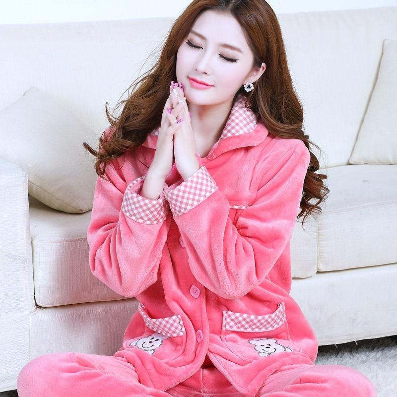 Sleepwear Women Set Winter Flannel Warm Solid Pijamas Women Thick Coral Fleece Pyjamas Woman Plus Size Long Pajamas For Female 4