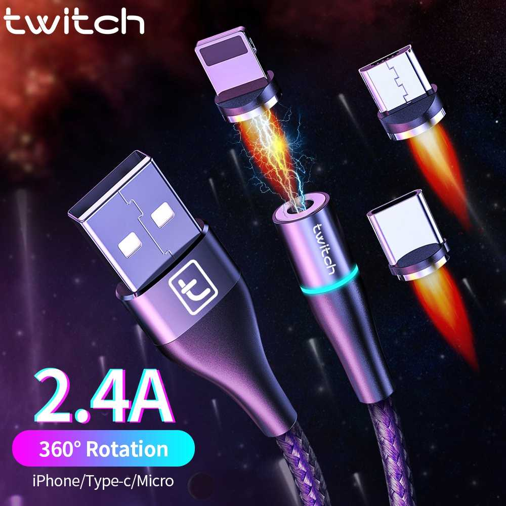 Twitch APP USB Kabel 2 M 1 M Micro USB TYPE C Quick Charge Cord untuk iPhone 11 Samsung S10 Xiaomi usb C Kabel Charger Magnetic