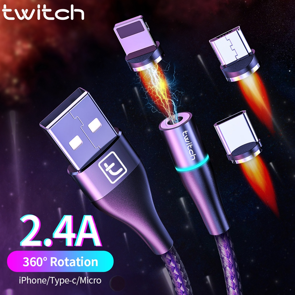 Twitch USB Magnetic cable 2m 1m micro usb type c Quick charge cord for iPhone 11 Samsung S10 xiaomi USB C Cable Magnetic Charger