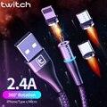 Twitch USB Magnetische kabel 2m 1m micro usb typ c Quick charge kabel für iPhone 11 Samsung S10 xiaomi USB C Kabel Magnetische Ladegerät-in Handy-Kabel aus Handys & Telekommunikation bei