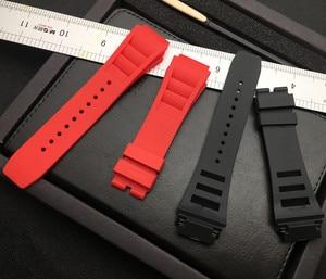 Image 5 - 25mm רך טבע סיליקון גומי רצועת השעון עבור ריצ רד שעון Mille רצועת להקת צמיד כתום כחול לבן אדום האביב בר סדרה