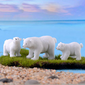 Modern nordic lovelyIns mini style polar bear home decoration living room accessories miniature fairy garden  resin figurine 1