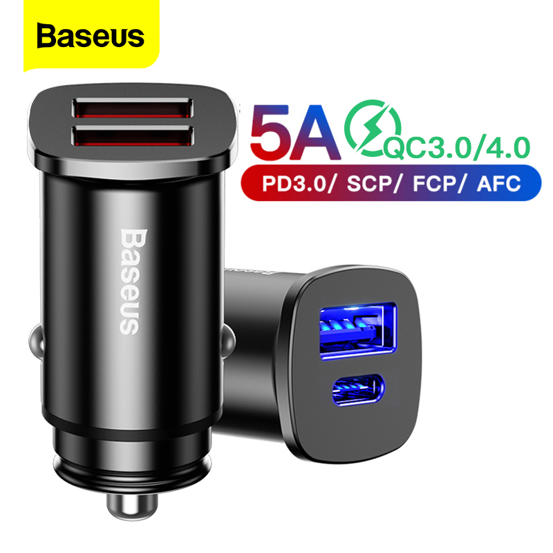 US $7.73 42% OFF|Baseus Quick Charge 4.0 3.0 USB Car Charger For iPhone 11 Pro Max Xiaomi Huawei SCP QC QC4.0 QC3.0 C PD Fast Car Phone Charger|Car