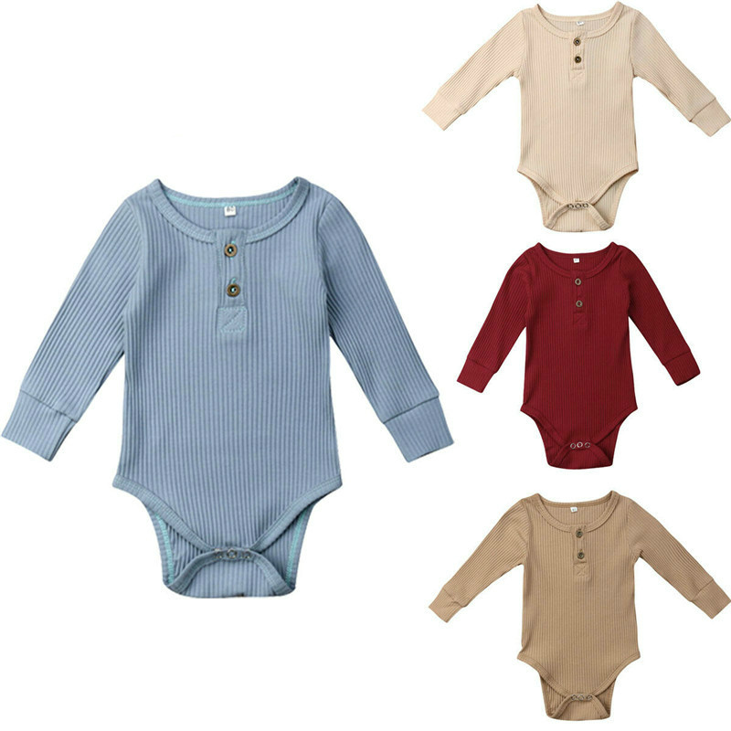 New Spring Autumn Newborn Infant Baby Girl Boy Ribbed Bodysuit Ruffle One-Pieces Solid Jumpsuit Long Sleeve Outfits Sunsuit
