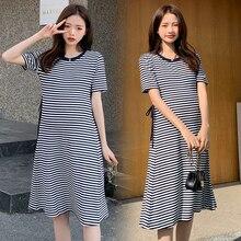 A-Line Maternity-Dress Pregnant-Women Korean-Fashion Summer Sweet Striped for Bandage