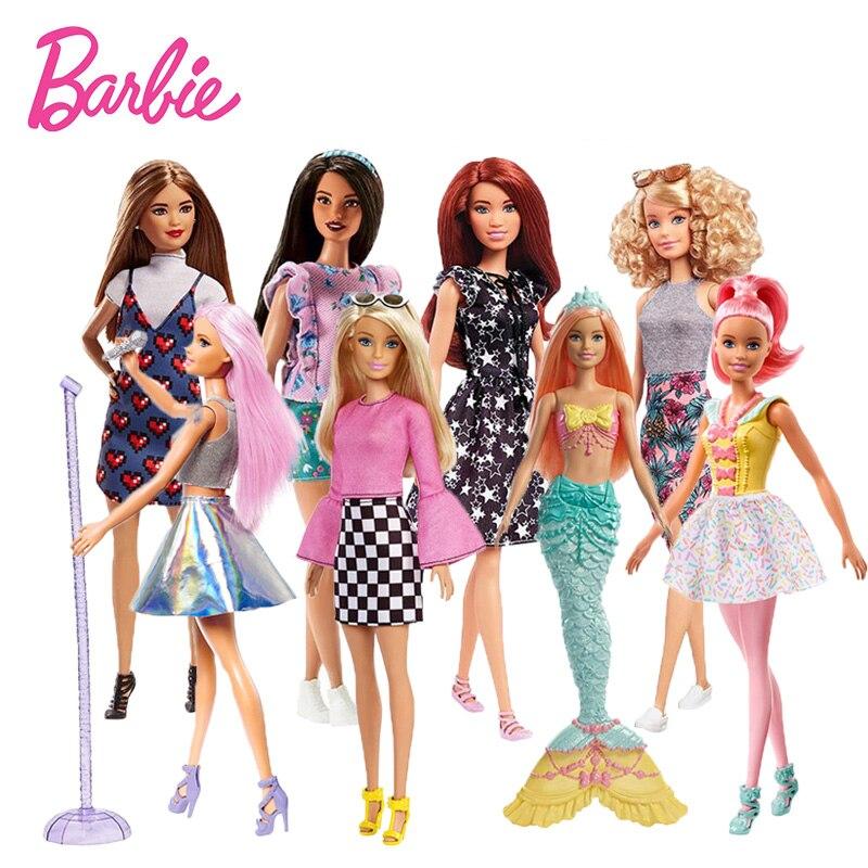 Original Barbie Doll Fashion Professional Dolls Farmers Ice Skater Pop Star Cupcake Chef Model Toy Girl Doll Birthday Gift FBR37