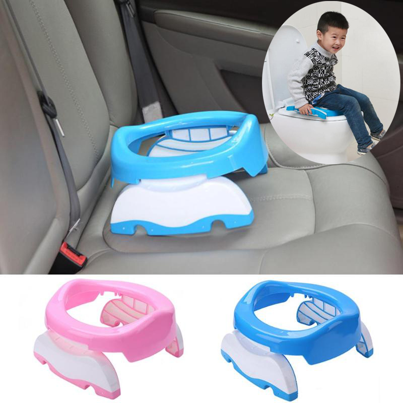 2019 New Portable Baby Infant Chamber Pots Foldaway Toilet Training Seat Travel Potty Rings With Urine Bag For Kids Blue Pink