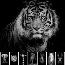 Preto e branco animais tigre leão arte da parede pintura da lona cartaz e impressões parede imagem para sala de estar decoração casa
