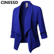 CINESSD Women Blazer Coat Notched Long Sleeves Ruched Solid Cotton Casual Slim Jacket Suit Office Lady Navy Blue Blazers Coats