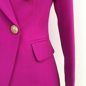 Image 5 - באיכות גבוהה הכי חדש 2020 מעצב בלייזר נשים של האריה כפתורי טור כפתורים כפול בלייזר מעיל סגול