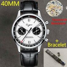 Cronografo Sugess 1963 movimento gabbiano st1901 orologio da uomo meccanico 40mm pilota zaffiro collo di cigno metallo acciaio orologio da uomo