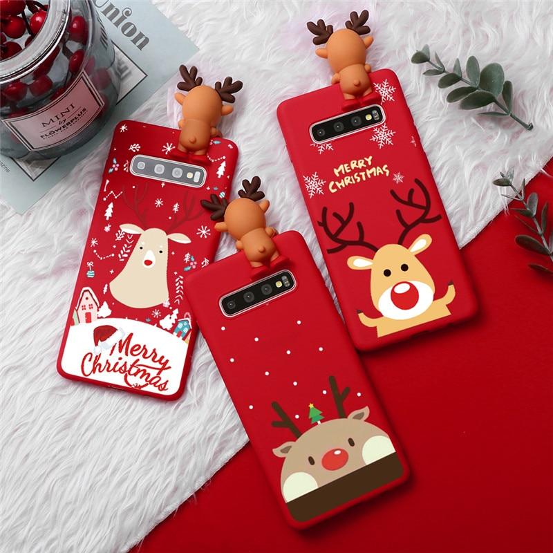 Christmas Cute Doll Phone Case For Coque Samsung Galaxy S10 S10e S10 S9 S8 Plus S7 Edge S6 Case Cartoon Cover Funda Capa