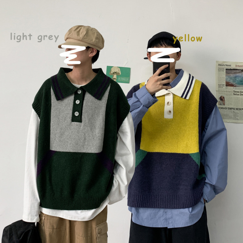 Sweater Vest Men's Warm Fashion Hit Color Casual Knitted Pullover Men Streetwear Wild Loose Sleeveless Sweater Mens Clothes