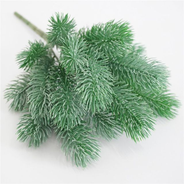 16 Fork Pine Needle Branches Artificial Pine Fake Flowers Plants Christmas Tree Wedding Decor DIY Handcraft Children Gift 5
