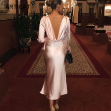 Articat Sexy Backless Satin Party Dress Women Long Sleeve Bo