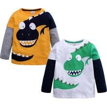 Детская Лоскутная рубашка с динозавром из мультфильма для маленьких мальчиков; топы; одежда; футболки для мальчиков и девочек; детские топы с принтом из мультфильма