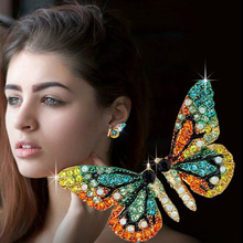 Exquisite Multicolor Rhinestone Butterfly Stud Earrings Korea Cute Crystal Earring Cocktail Party Womens Jewelry Lovers Gifts