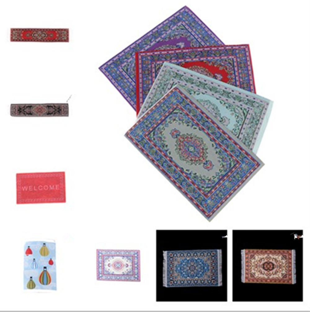 NEW 1/12 Scale Woven Rug Floor Carpet Dolls House Miniatures Furniture Toys For Dollhouse Floor Silk Coverings Gifts