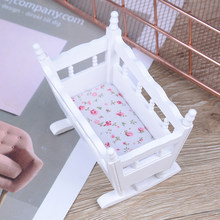 1:12 Handmade Modern White Wooden Furniture Crib Baby Cradle Miniature Bedside Cupboard Children Room Doll House Miniature(China)