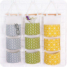 Cotton Waterproof Three Layer Receive To Hang Bag Simple Cloth Art Wall Hanging Door After The Sundry Hanging Bag Storage Bag cotton waterproof three layer receive to hang bag simple cloth art wall hanging door after the sundry hanging bag storage bag