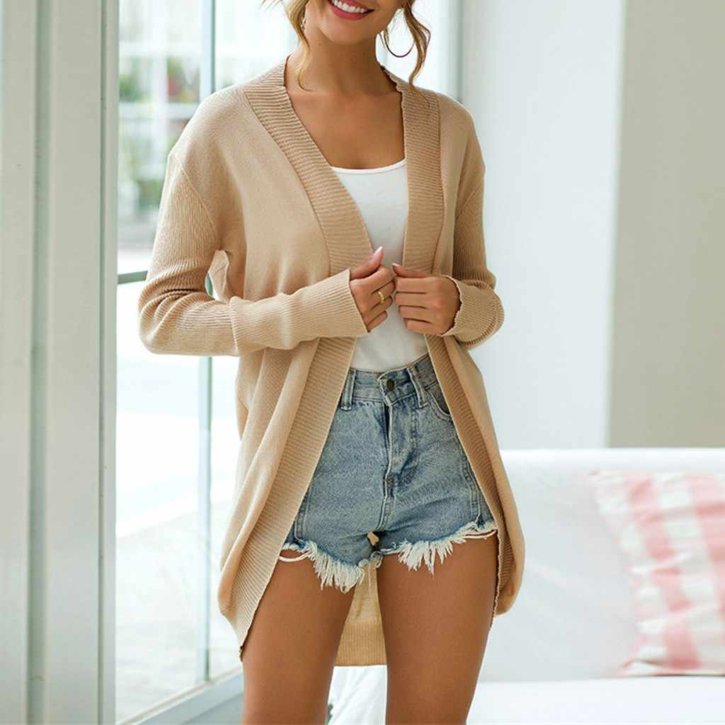 Chaqueta de las mujeres blusas feminino de inverno femenina más el tamaño de las mujeres de punto de manga larga Chaqueta de punto suéter de punto larga