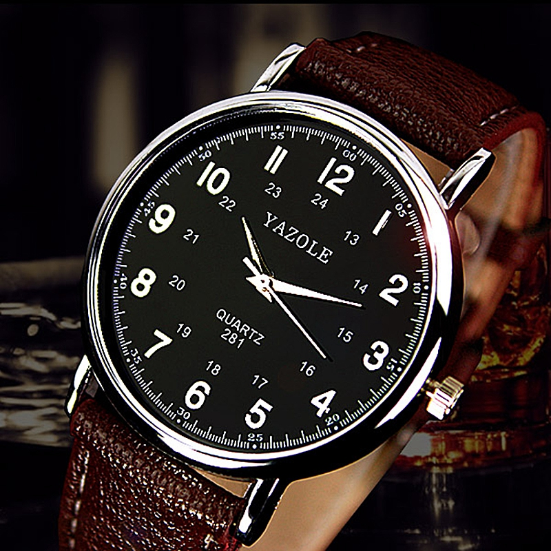 YAZOLE Fashion Trend Business Style Men Watch Arabic Numeral Dial Durable Quartz Movement Life Waterproof Couple Wristwatch 281
