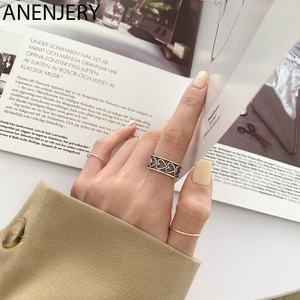 ANENJERY Vintage Hollow Love Heart Thai Silver Color Ring for Women Open Finger Ring Jewelry Party Gifts S-R831